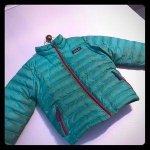 Teal Girls Puffer Sweater Jacket